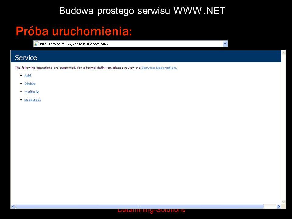 Datamining-Solutions Budowa prostego serwisu WWW.NET Próba uruchomienia: