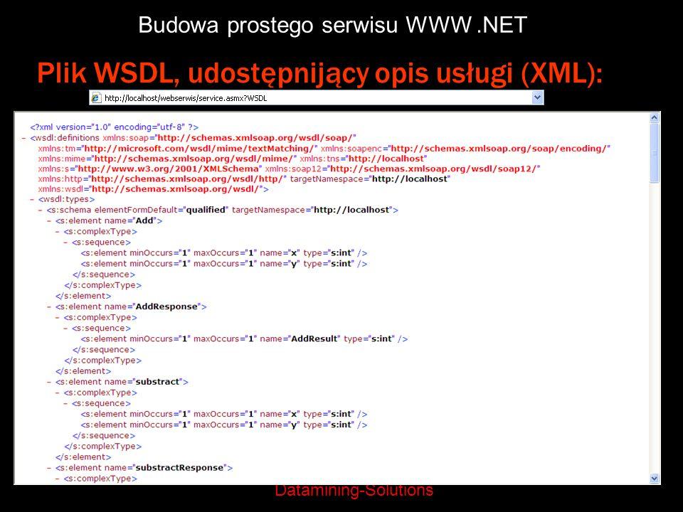 Datamining-Solutions Budowa prostego serwisu WWW.NET Plik WSDL, udostępnijący opis usługi (XML):