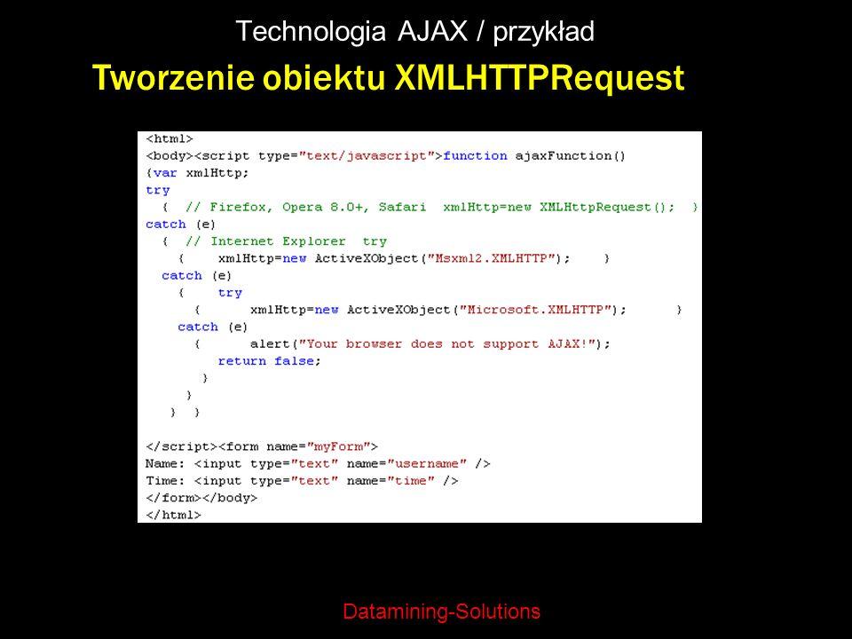Datamining-Solutions Technologia AJAX / przykład Tworzenie obiektu XMLHTTPRequest