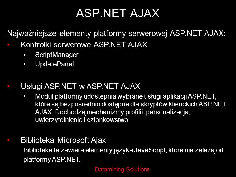 Datamining-Solutions ASP.NET AJAX Najważniejsze elementy platformy serwerowej ASP.NET AJAX: Kontrolki serwerowe ASP.NET AJAX ScriptManager UpdatePanel