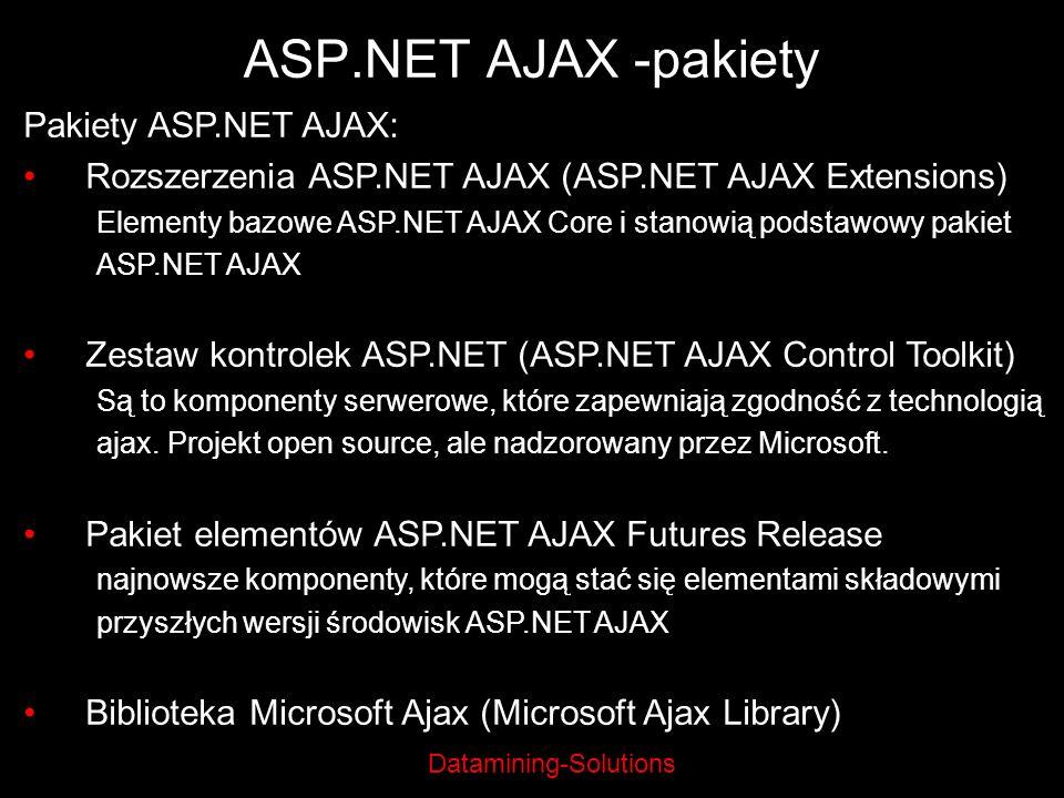 Datamining-Solutions ASP.NET AJAX -pakiety Pakiety ASP.NET AJAX: Rozszerzenia ASP.NET AJAX (ASP.NET AJAX Extensions) Elementy bazowe ASP.NET AJAX Core