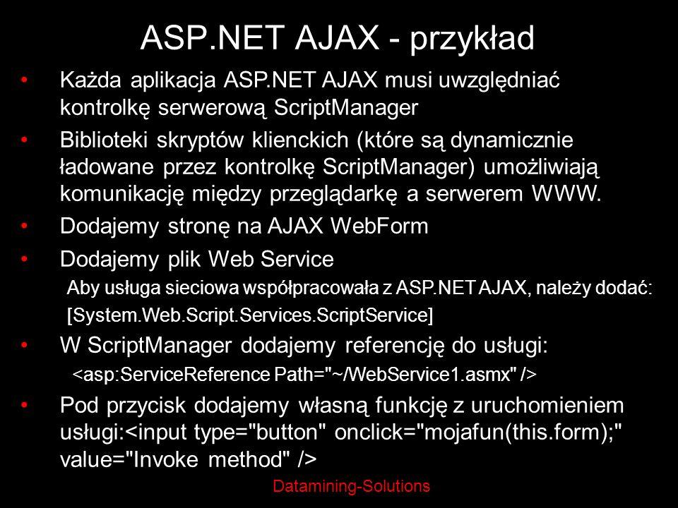Datamining-Solutions ASP.NET AJAX - przykład Każda aplikacja ASP.NET AJAX musi uwzględniać kontrolkę serwerową ScriptManager Biblioteki skryptów klien