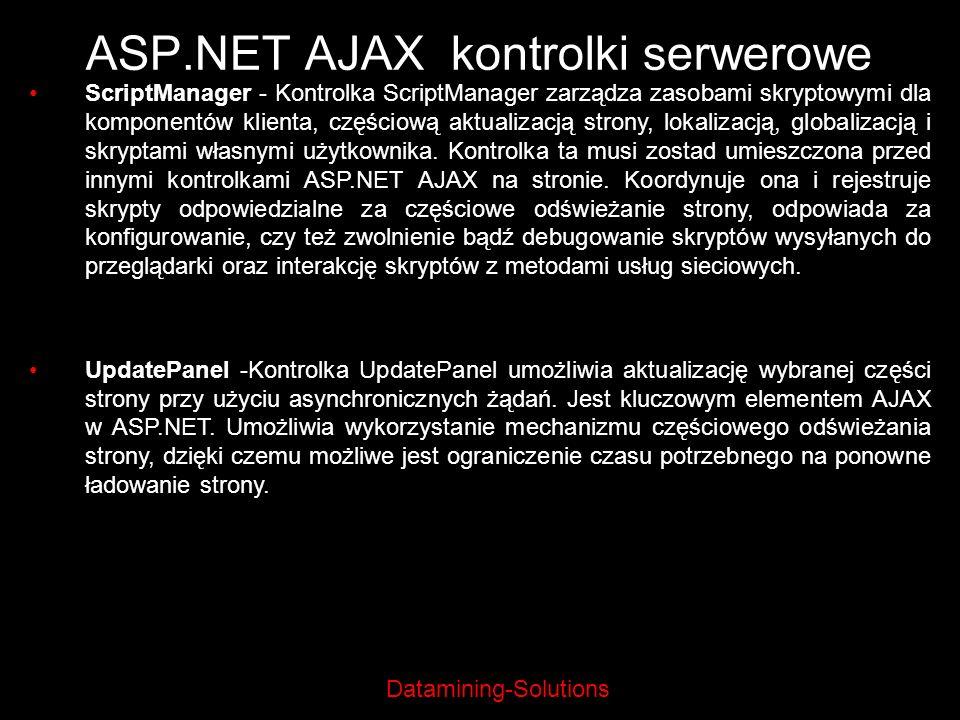 Datamining-Solutions ASP.NET AJAX kontrolki serwerowe ScriptManager - Kontrolka ScriptManager zarządza zasobami skryptowymi dla komponentów klienta, c