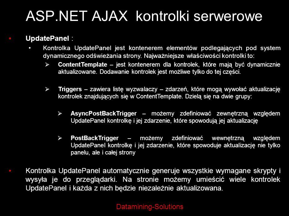Datamining-Solutions ASP.NET AJAX kontrolki serwerowe UpdatePanel : Kontrolka UpdatePanel jest kontenerem elementów podlegających pod system dynamiczn