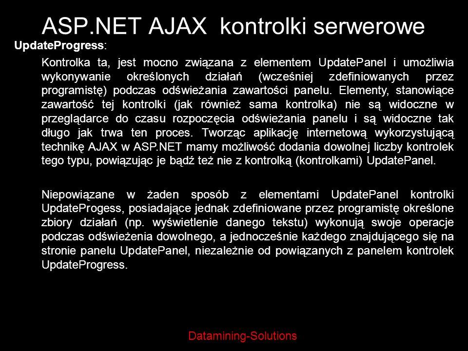 Datamining-Solutions ASP.NET AJAX kontrolki serwerowe UpdateProgress: Kontrolka ta, jest mocno związana z elementem UpdatePanel i umożliwia wykonywani