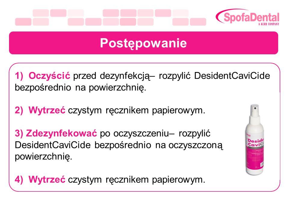 Postępowanie 1) Oczyścić przed dezynfekcją– rozpylić DesidentCaviCide bezpośrednio na powierzchnię. 2) Wytrzeć czystym ręcznikem papierowym. 3) Zdezyn