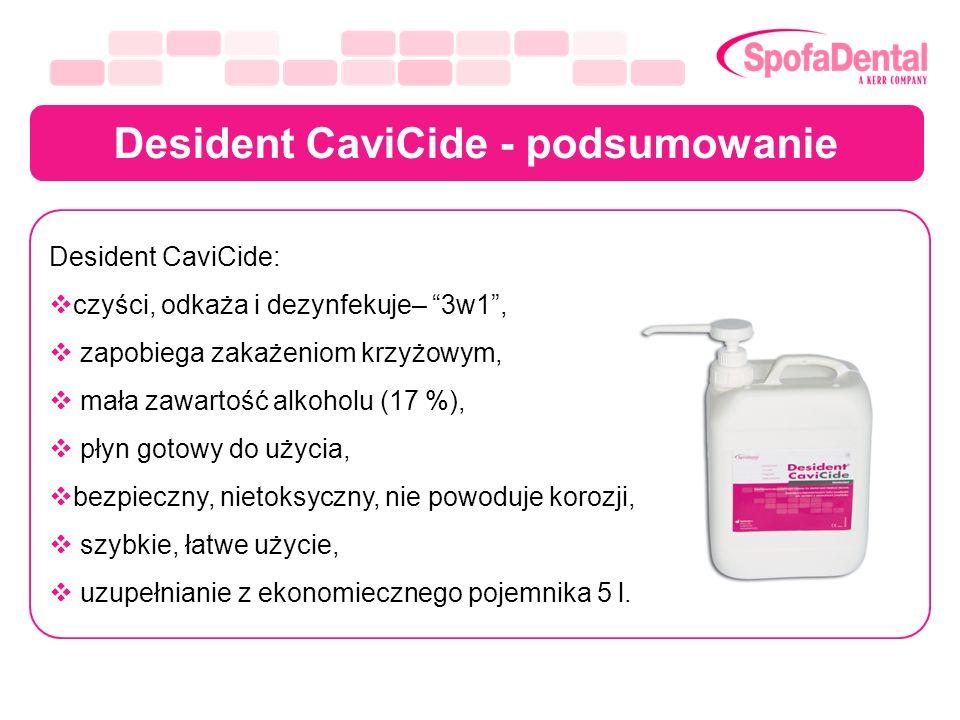 Desident CaviCide - podsumowanie Desident CaviCide: czyści, odkaża i dezynfekuje– 3w1, zapobiega zakażeniom krzyżowym, mała zawartość alkoholu (17 %),