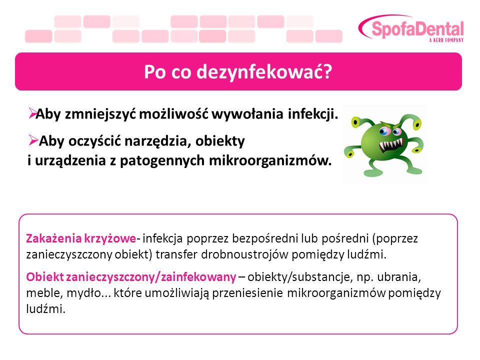 Po co dezynfekować? Aby zmniejszyć możliwość wywołania infekcji. Aby oczyścić narzędzia, obiekty i urządzenia z patogennych mikroorganizmów. Zakażenia