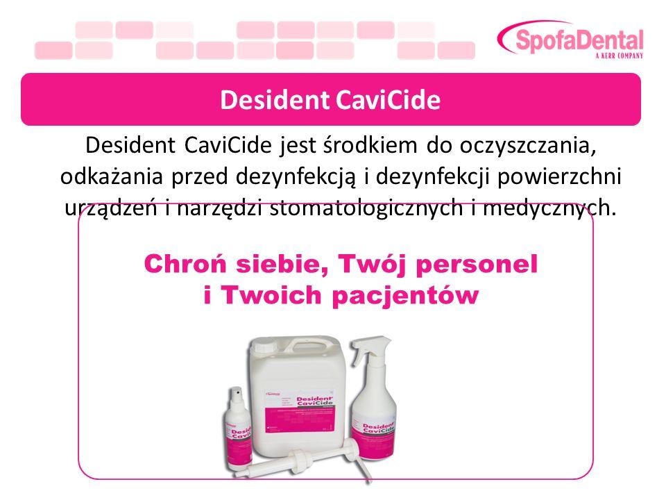 Desident CaviCide Desident CaviCide jest środkiem do oczyszczania, odkażania przed dezynfekcją i dezynfekcji powierzchni urządzeń i narzędzi stomatolo