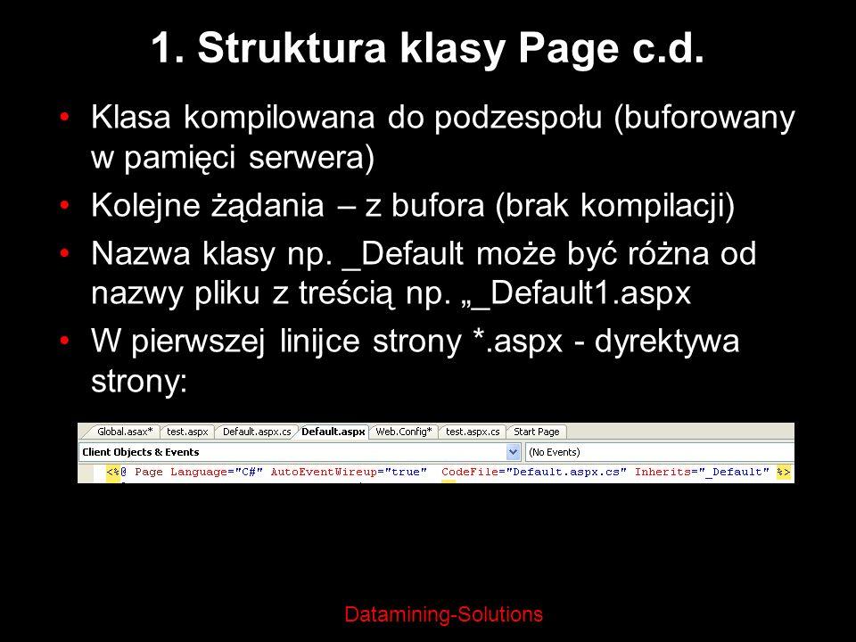 Datamining-Solutions 1. Struktura klasy Page c.d. Klasa kompilowana do podzespołu (buforowany w pamięci serwera) Kolejne żądania – z bufora (brak komp