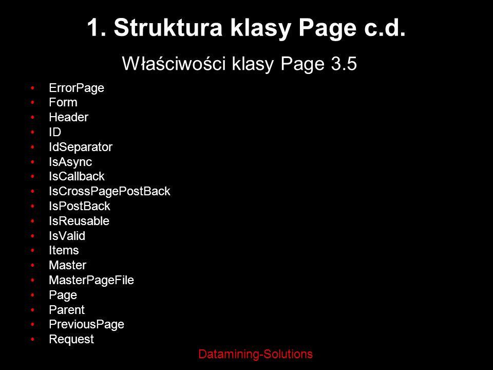 Datamining-Solutions 1. Struktura klasy Page c.d. ErrorPage Form Header ID IdSeparator IsAsync IsCallback IsCrossPagePostBack IsPostBack IsReusable Is