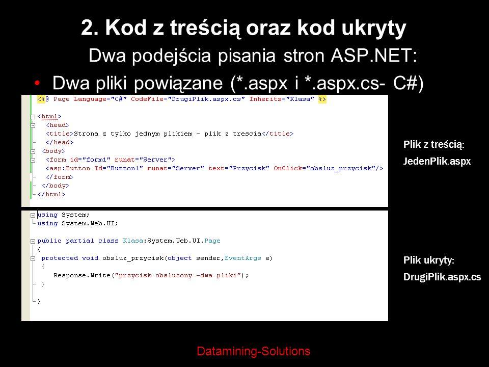 Datamining-Solutions 2. Kod z treścią oraz kod ukryty Dwa podejścia pisania stron ASP.NET: Dwa pliki powiązane (*.aspx i *.aspx.cs- C#) Plik z treścią