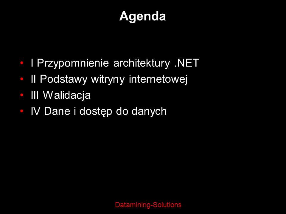 Datamining-Solutions Agenda I Przypomnienie architektury.NET II Podstawy witryny internetowej III Walidacja IV Dane i dostęp do danych