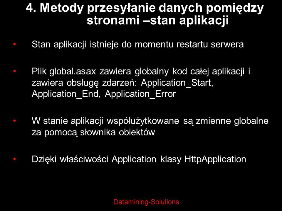 Datamining-Solutions Stan aplikacji istnieje do momentu restartu serwera Plik global.asax zawiera globalny kod całej aplikacji i zawiera obsługę zdarz
