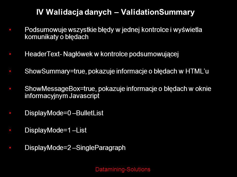 Datamining-Solutions IV Walidacja danych – ValidationSummary Podsumowuje wszystkie błędy w jednej kontrolce i wyświetla komunikaty o błędach HeaderTex