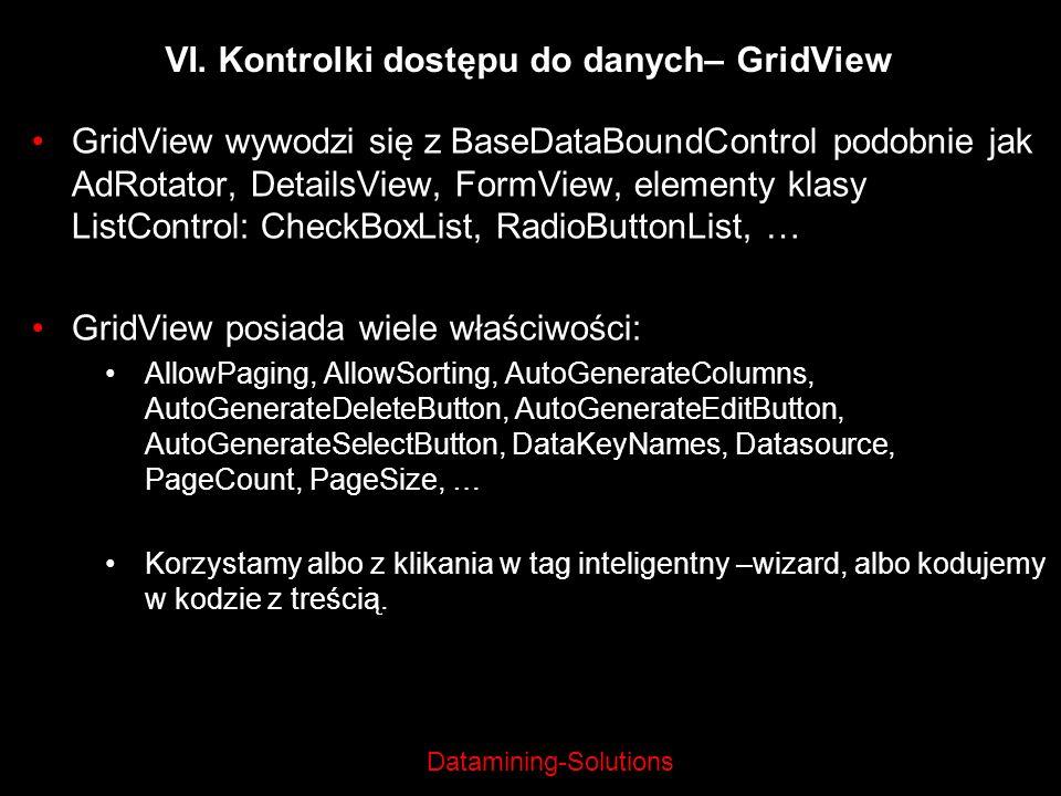 Datamining-Solutions GridView wywodzi się z BaseDataBoundControl podobnie jak AdRotator, DetailsView, FormView, elementy klasy ListControl: CheckBoxLi