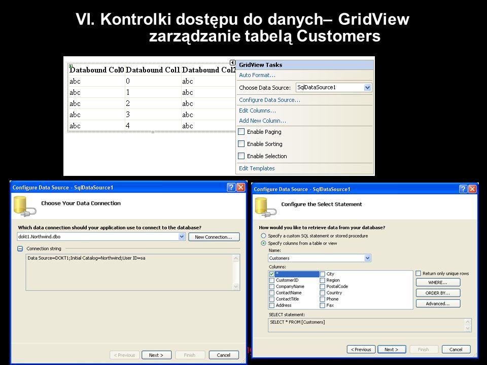 Datamining-Solutions VI. Kontrolki dostępu do danych– GridView zarządzanie tabelą Customers