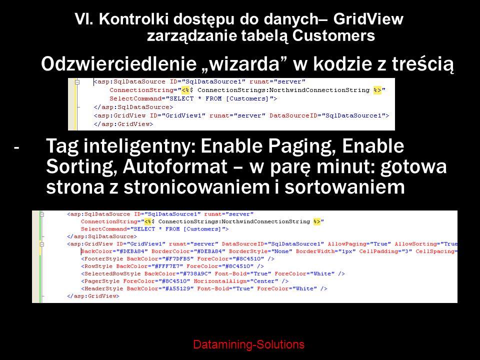 Datamining-Solutions VI. Kontrolki dostępu do danych– GridView zarządzanie tabelą Customers Odzwierciedlenie wizarda w kodzie z treścią - Tag intelige