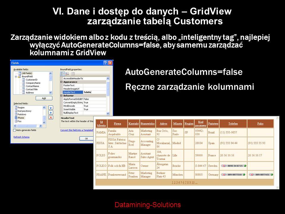 Datamining-Solutions VI. Dane i dostęp do danych – GridView zarządzanie tabelą Customers Zarządzanie widokiem albo z kodu z treścią, albo inteligentny