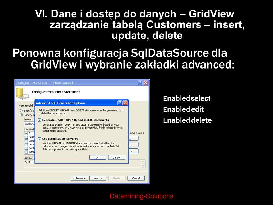 Datamining-Solutions VI. Dane i dostęp do danych – GridView zarządzanie tabelą Customers – insert, update, delete Ponowna konfiguracja SqlDataSource d
