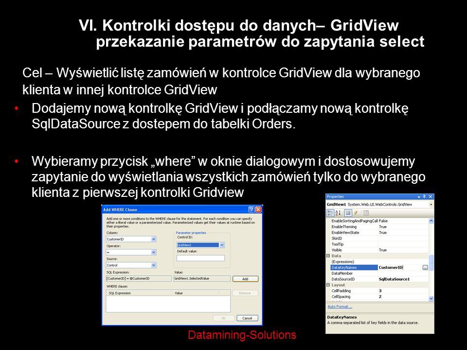 Datamining-Solutions Cel – Wyświetlić listę zamówień w kontrolce GridView dla wybranego klienta w innej kontrolce GridView VI. Kontrolki dostępu do da