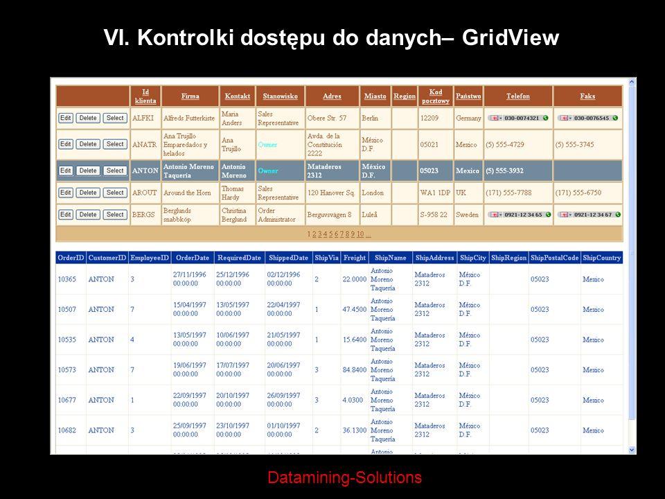 Datamining-Solutions VI. Kontrolki dostępu do danych– GridView