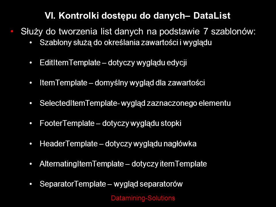 Datamining-Solutions VI. Kontrolki dostępu do danych– DataList Służy do tworzenia list danych na podstawie 7 szablonów: Szablony służą do określania z