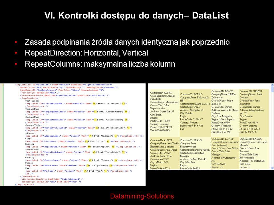 Datamining-Solutions VI. Kontrolki dostępu do danych– DataList Zasada podpinania źródła danych identyczna jak poprzednio RepeatDirection: Horizontal,