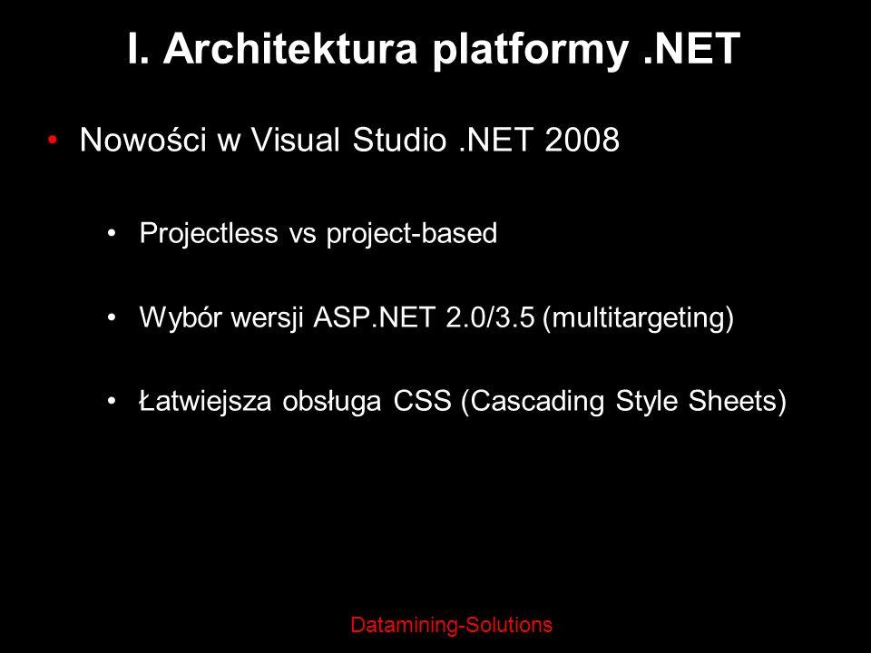 Datamining-Solutions I. Architektura platformy.NET Nowości w Visual Studio.NET 2008 Projectless vs project-based Wybór wersji ASP.NET 2.0/3.5 (multita