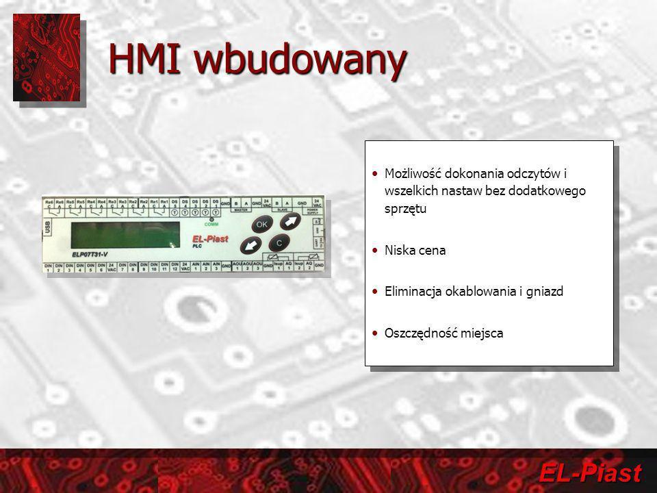 EL-Piast HMI wbudowany Możliwość dokonania odczytów i wszelkich nastaw bez dodatkowego sprzętu Niska cena Eliminacja okablowania i gniazd Oszczędność