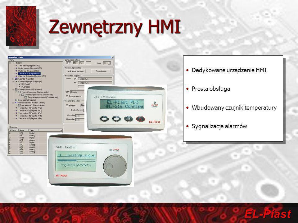 EL-Piast Zewnętrzny HMI Dedykowane urządzenie HMI Prosta obsługa Wbudowany czujnik temperatury Sygnalizacja alarmów Dedykowane urządzenie HMI Prosta o