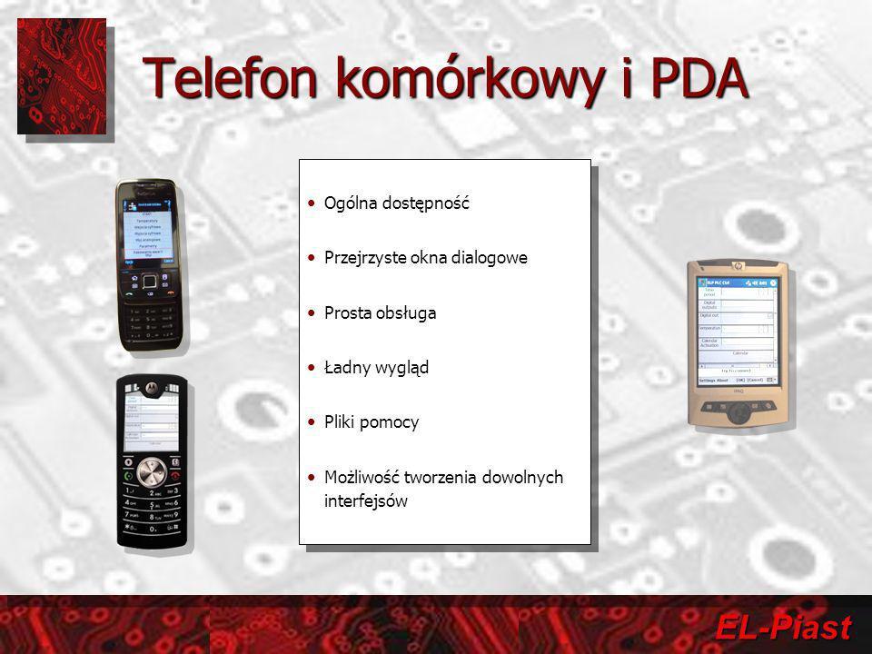 EL-Piast Telefon komórkowy i PDA Ogólna dostępność Przejrzyste okna dialogowe Prosta obsługa Ładny wygląd Pliki pomocy Możliwość tworzenia dowolnych i