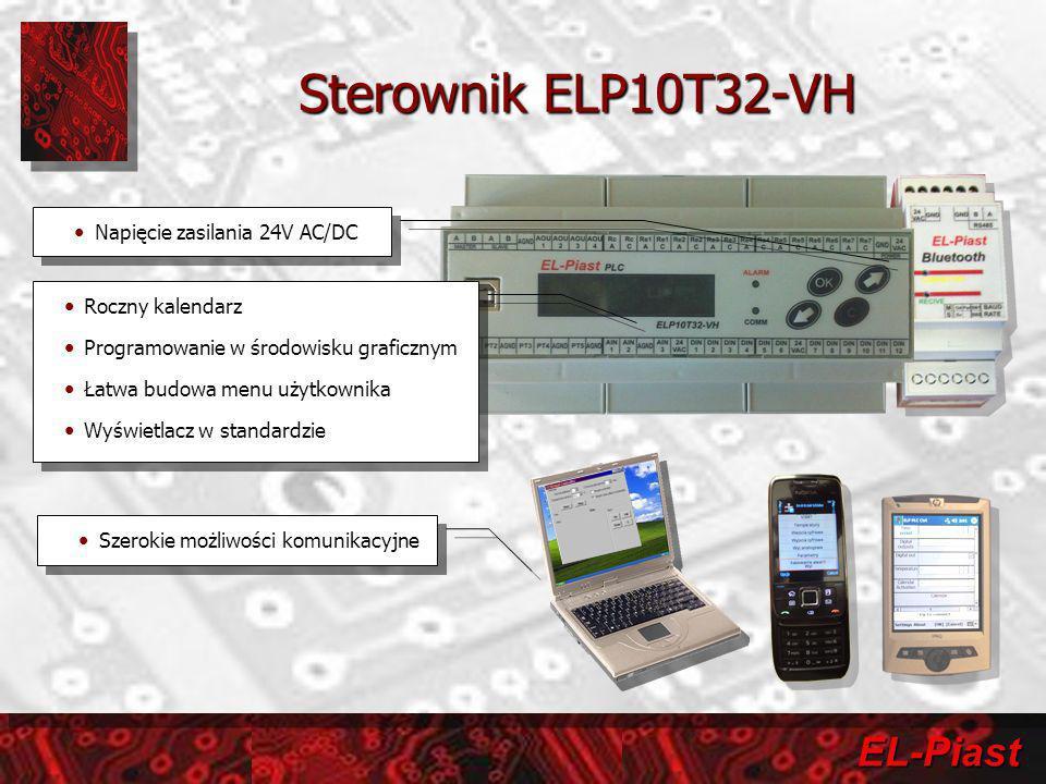 EL-Piast Sterownik ELP10T32-VH Szerokie możliwości komunikacyjne Roczny kalendarz Programowanie w środowisku graficznym Łatwa budowa menu użytkownika