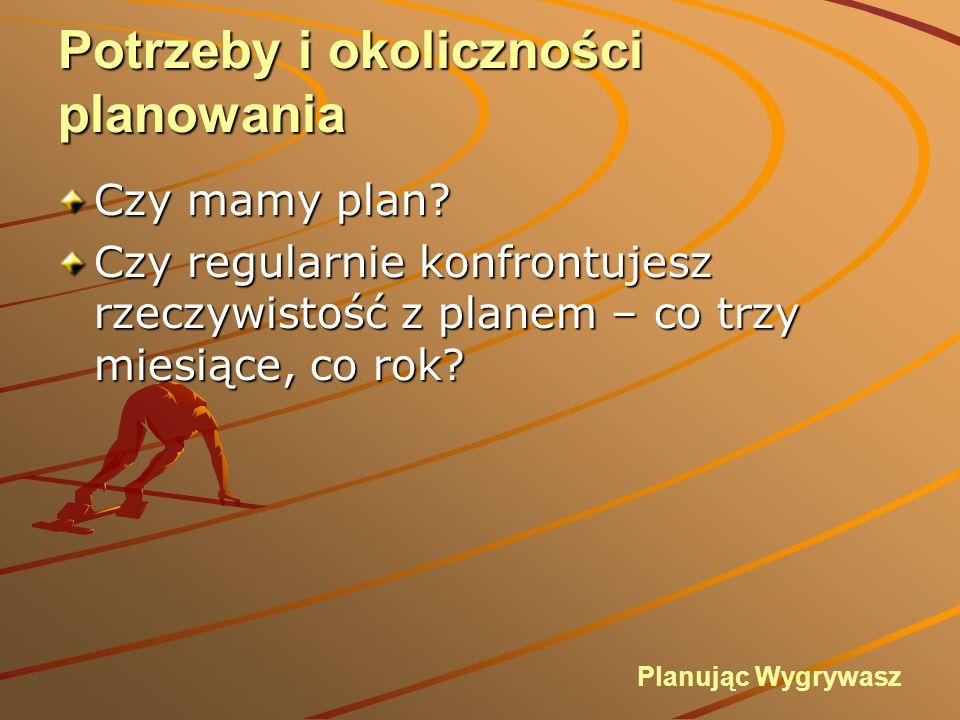Potrzeby i okoliczności planowania Określ cel (co będzie sukcesem) Określ cel (co będzie sukcesem) Plan może wymagać drobnych poprawek w czasie realizacji Plan powienien być określony przed tym kiedy konieczne jest podjęcie strategicznych decyzji Planując Wygrywasz