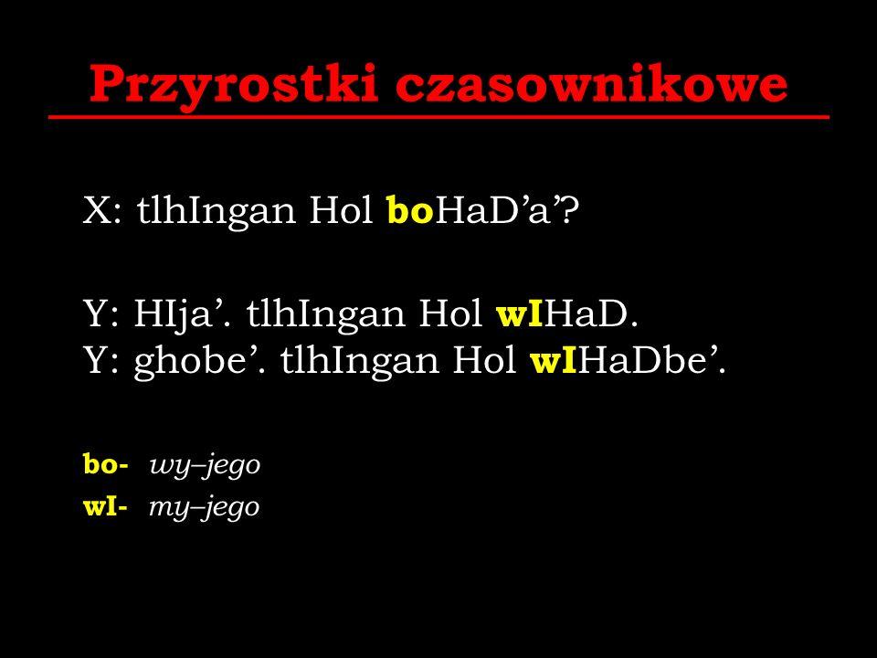 Przyrostki czasownikowe X: tlhIngan Hol bo HaDa? Y: HIja. tlhIngan Hol wI HaD. Y: ghobe. tlhIngan Hol wI HaDbe. bo- wy–jego wI- my–jego