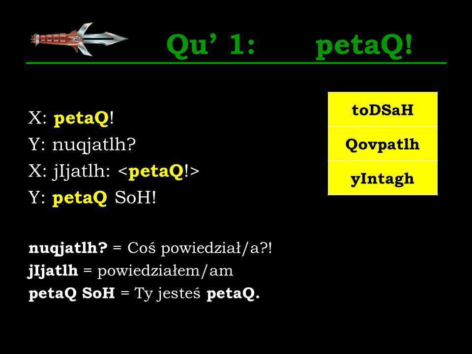 Qu 1: petaQ! X: petaQ ! Y: nuqjatlh? X: jIjatlh: Y: petaQ SoH! nuqjatlh? = Coś powiedział/a?! jIjatlh = powiedziałem/am petaQ SoH = Ty jesteś petaQ. t