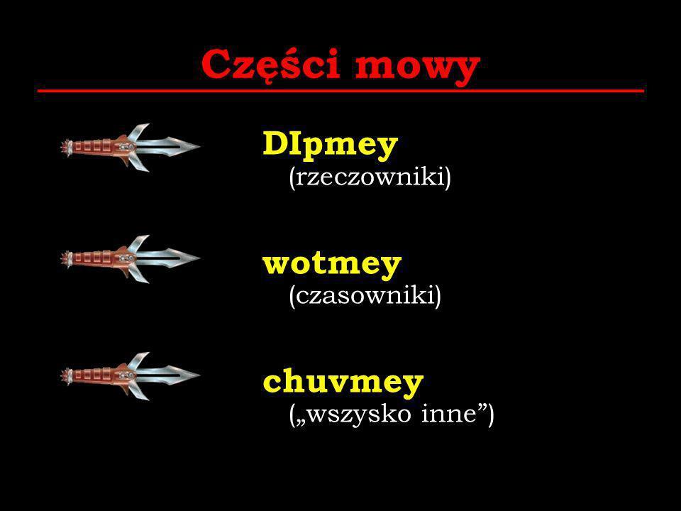 Części mowy DIpmey (rzeczowniki) wotmey (czasowniki) chuvmey (wszysko inne)