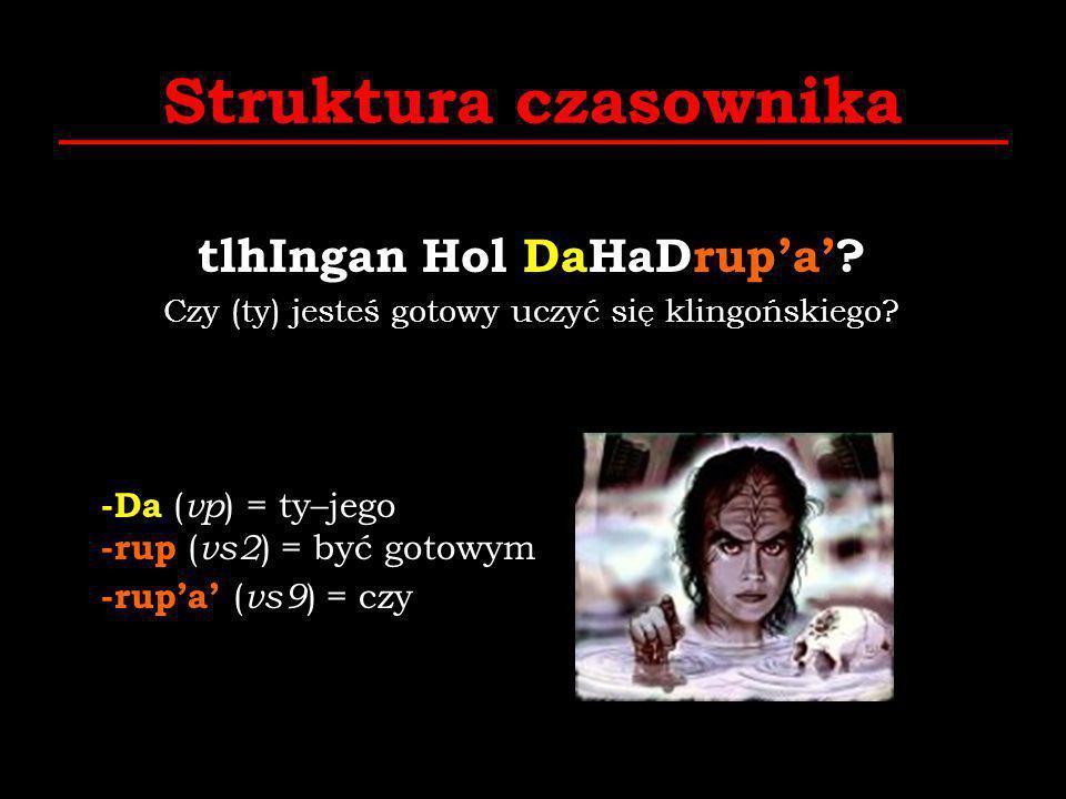 Struktura czasownika tlhIngan Hol DaHaDrupa? Czy (ty) jesteś gotowy uczyć się klingońskiego? -Da ( vp ) = ty–jego -rup ( vs2 ) = być gotowym -rupa ( v