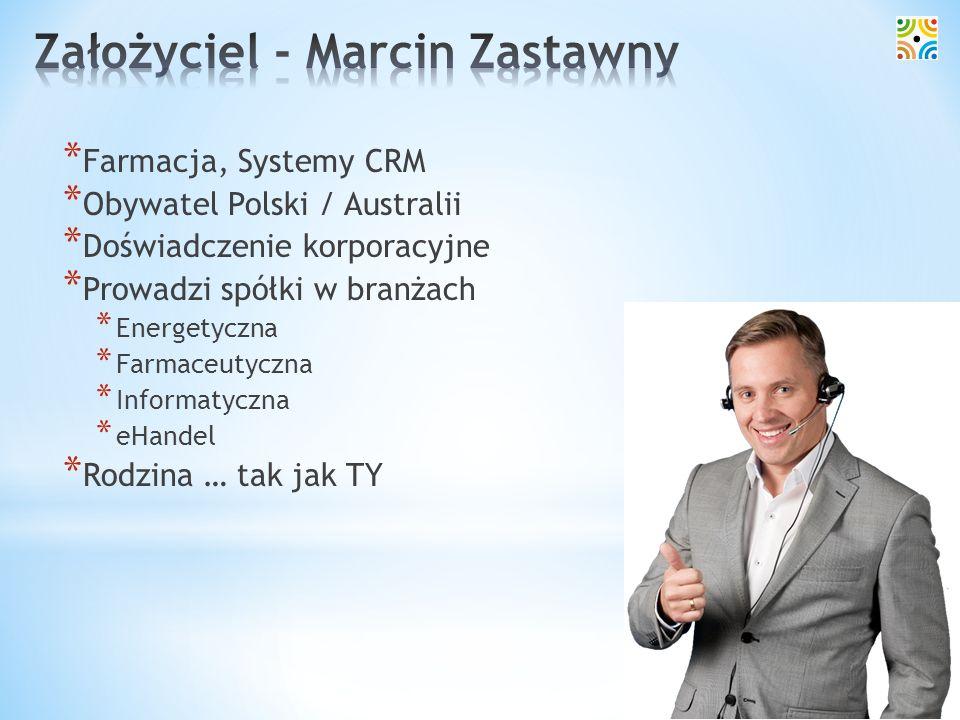 * Farmacja, Systemy CRM * Obywatel Polski / Australii * Doświadczenie korporacyjne * Prowadzi spółki w branżach * Energetyczna * Farmaceutyczna * Info