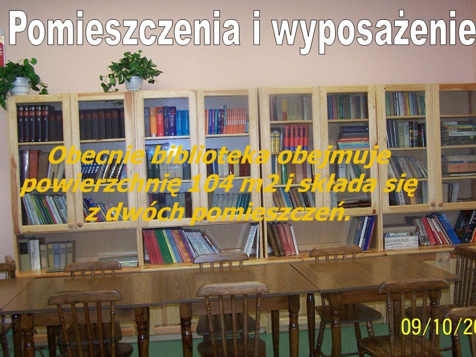 Pomieszczenia i wyposażenie Obecnie biblioteka obejmuje powierzchnię 104 m2 i składa się z dwóch pomieszczeń. Obecnie biblioteka obejmuje powierzchnię