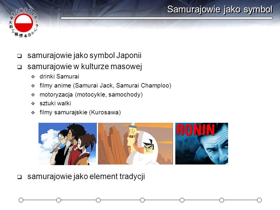 Samurajowie jako symbol samurajowie jako symbol Japonii samurajowie w kulturze masowej drinki Samurai filmy anime (Samurai Jack, Samurai Champloo) mot