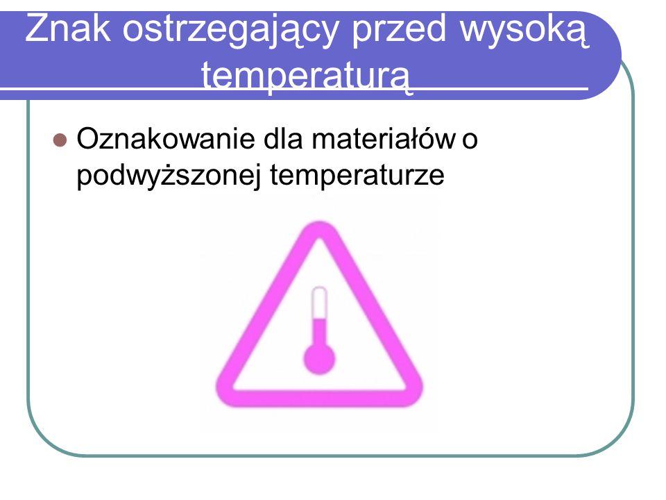 Znak ostrzegający przed wysoką temperaturą Oznakowanie dla materiałów o podwyższonej temperaturze