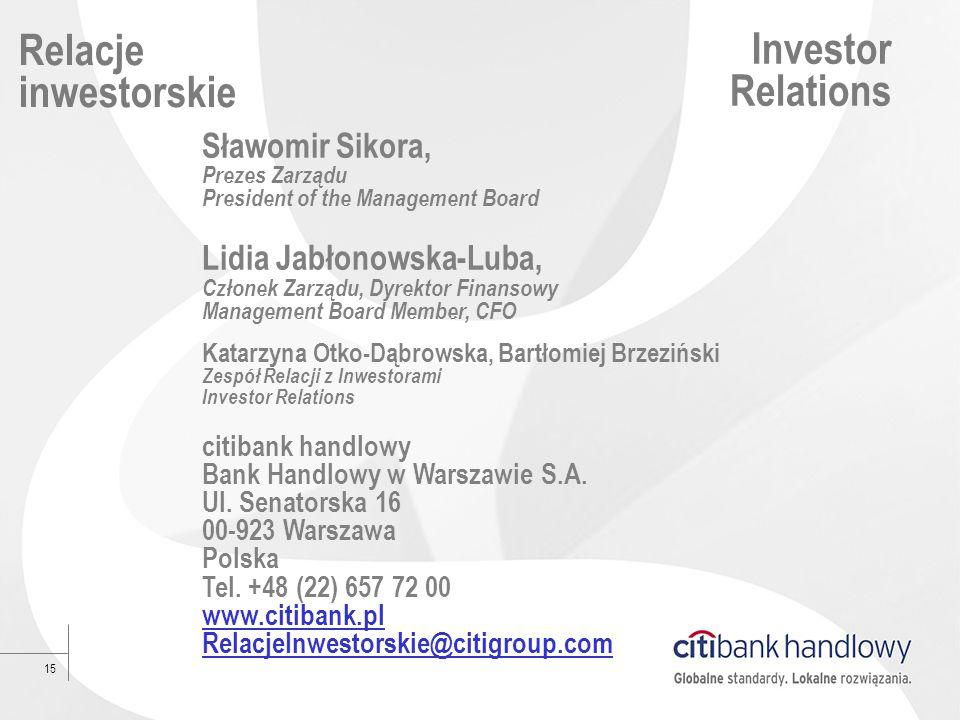 15 Relacje inwestorskie Investor Relations Sławomir Sikora, Prezes Zarządu President of the Management Board Lidia Jabłonowska-Luba, Członek Zarządu,