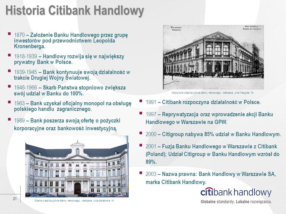 21 Historia Citibank Handlowy 1870 – Założenie Banku Handlowego przez grupę inwestorów pod przewodnictwem Leopolda Kronenberga. 1918-1939 – Handlowy r
