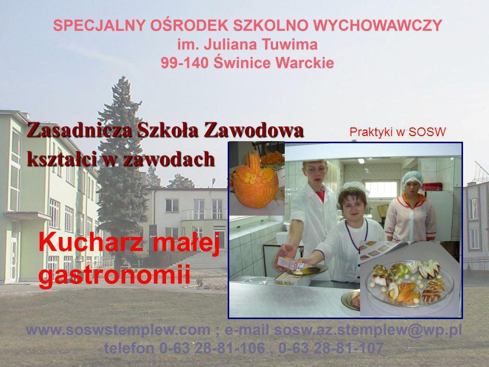 Zasadnicza Szkoła Zawodowa kształci w zawodach Pracownik pomocniczy obsługi hotelowej Praktyki w SOSW