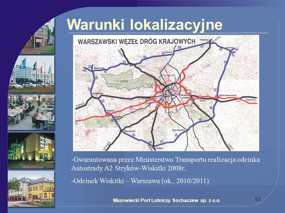 10 Warunki lokalizacyjne Mazowiecki Port Lotniczy Sochaczew sp. z o.o. -Gwarantowana przez Ministerstwo Transportu realizacja odcinka Autostrady A2 St