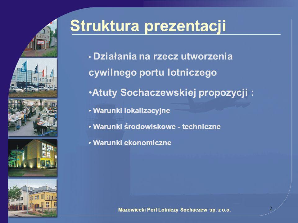 2 Mazowiecki Port Lotniczy Sochaczew sp. z o.o. Struktura prezentacji Działania na rzecz utworzenia cywilnego portu lotniczego Atuty Sochaczewskiej pr