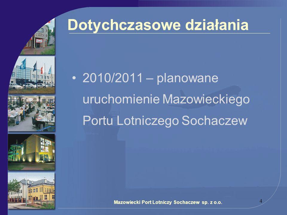 4 Dotychczasowe działania 2010/2011 – planowane uruchomienie Mazowieckiego Portu Lotniczego Sochaczew Mazowiecki Port Lotniczy Sochaczew sp. z o.o.