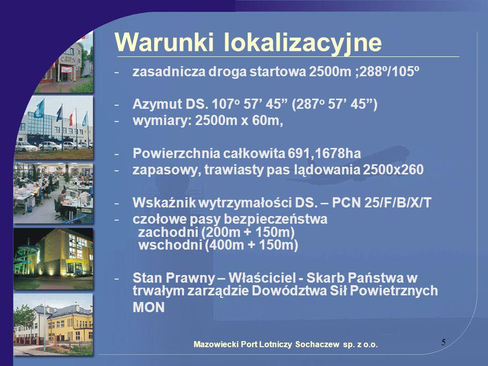 5 Warunki lokalizacyjne Mazowiecki Port Lotniczy Sochaczew sp. z o.o. -zasadnicza droga startowa 2500m ;288º/105º -Azymut DS. 107 o 57 45 (287 o 57 45