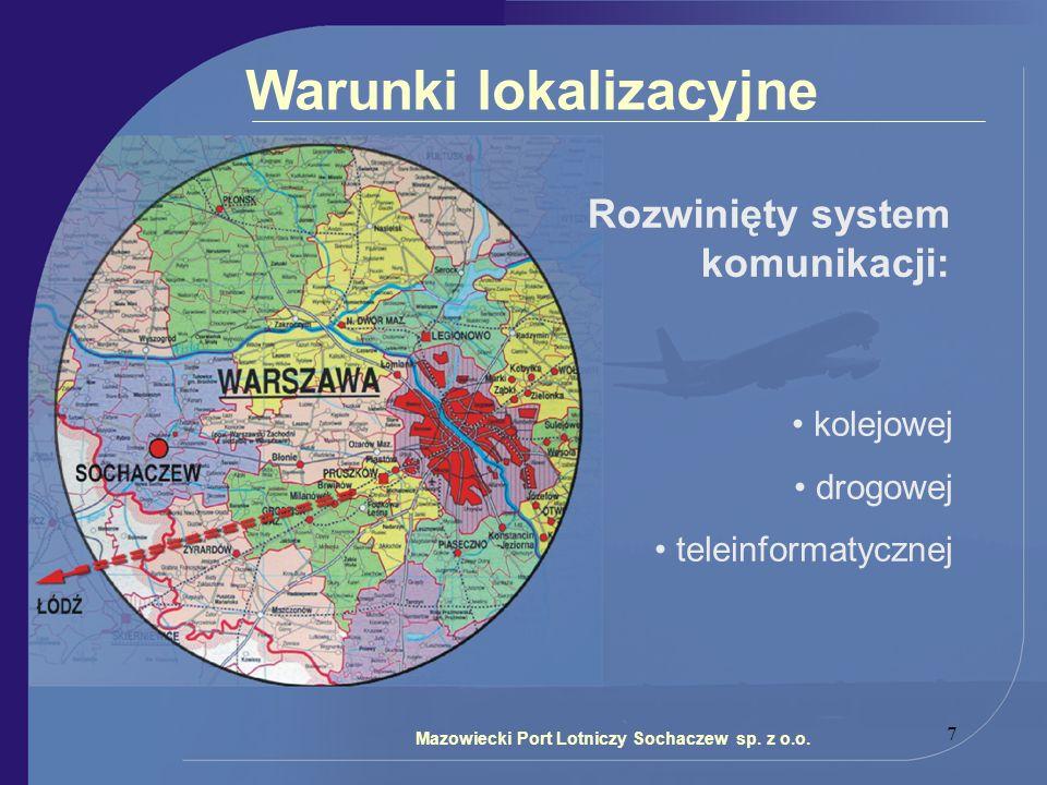 7 Warunki lokalizacyjne Rozwinięty system komunikacji: kolejowej drogowej teleinformatycznej Mazowiecki Port Lotniczy Sochaczew sp. z o.o.